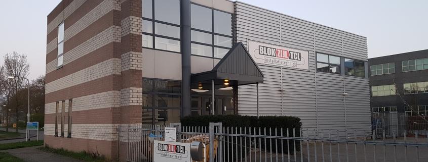 Blokzijl TCL Almere 1 845x321 - Blokzijl TCL installatietechniek Almere. 160m2 projecttapijt Balsan Script in kantoren en trappenhuis. Entreemat Emco.